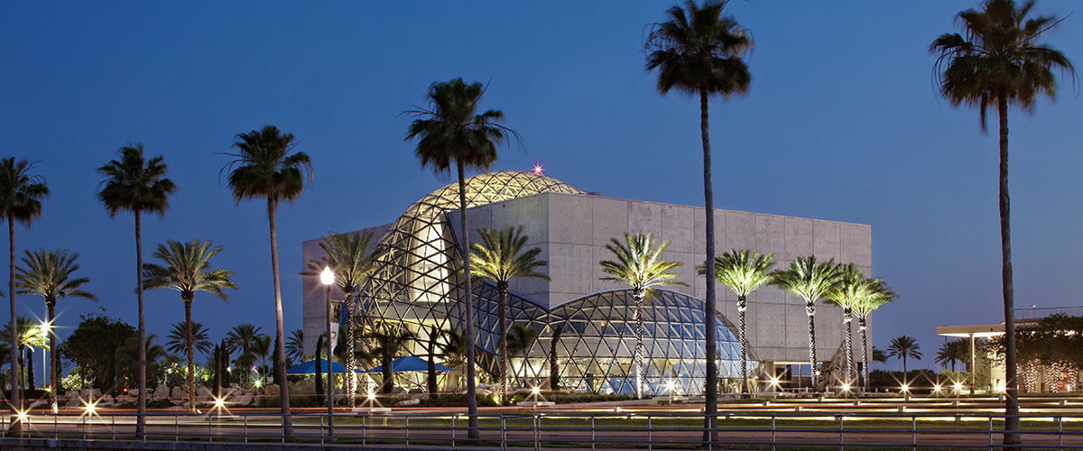 Dali Museum nighttime building exterior view from waterfront