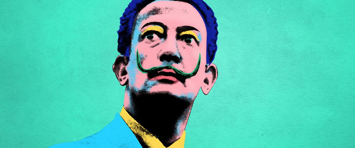 """""""Dalí's self-portrait modified with Warhol's vivid color palette."""""""