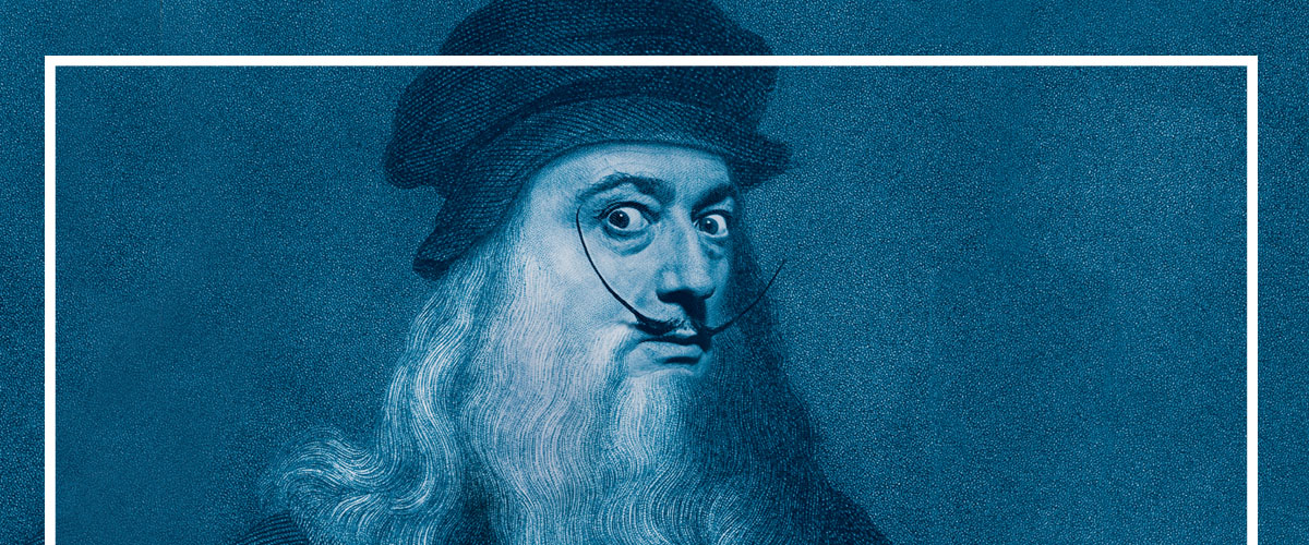 Dalí's face and iconic mustache on Leonardo da Vinci's self-portrait