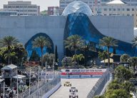 The St Pete Grand Prix in front of the Dali Museum