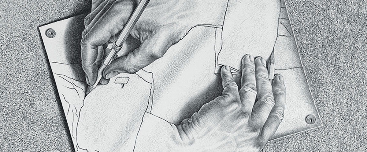 Sketch by Escher of two hands drawing one another.