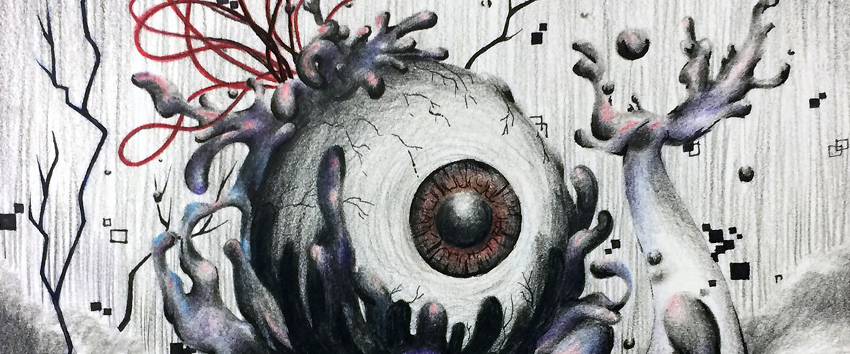 Surreal student art, eyeball is consumed by ocean wave