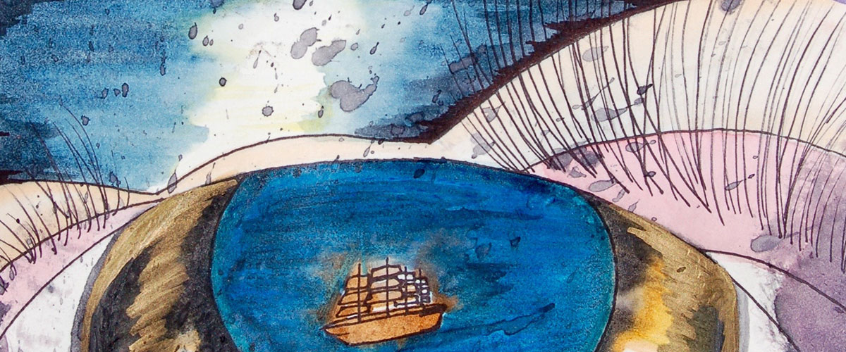 Surreal student art, ship sets sail in pupil of an eye
