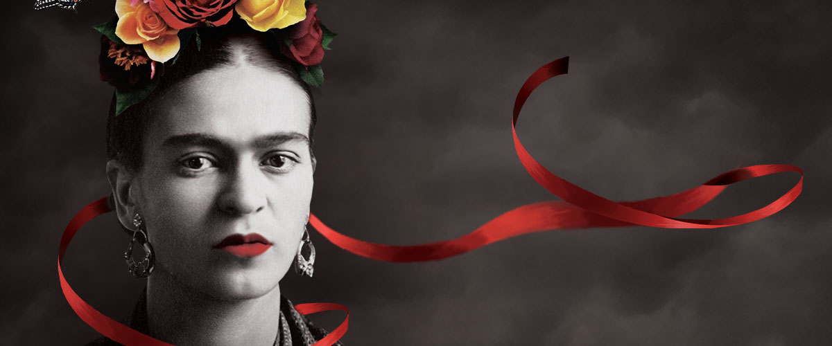 Frida Kahlo with red ribbon detail wrapped around her