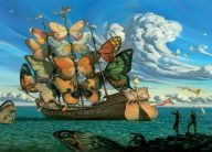 a boat with sails of butterflies