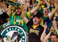 Fans at a rowdies soccer match