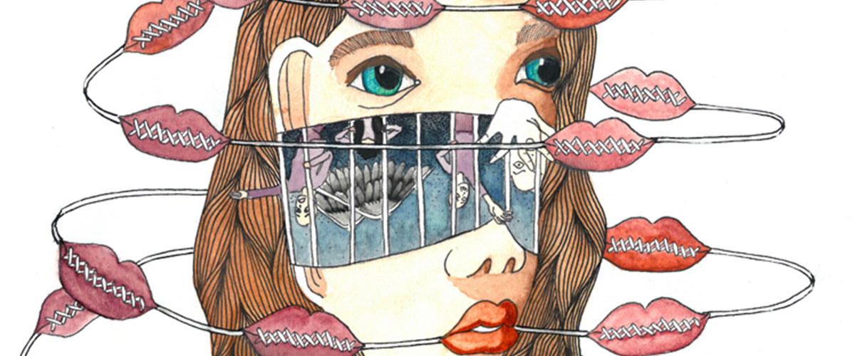 Surreal student art, woman's face opens to reveal prisoners begging for escape