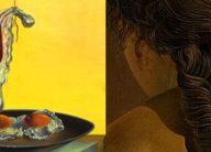 "Details from the paintings ""Eggs on a Plate..."" and ""Girl With Curls"""