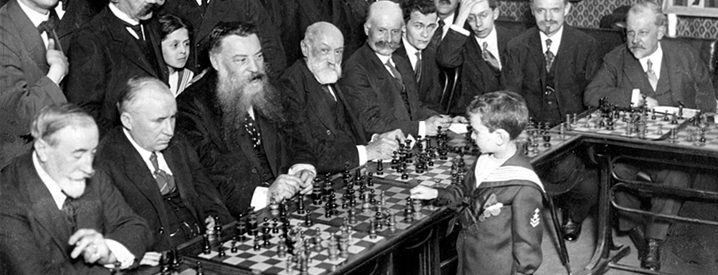 Samuel Reshevsky playing chess