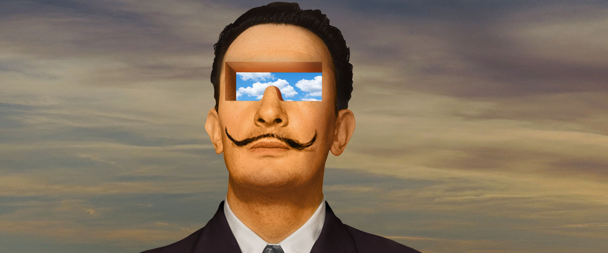 """Portrait of Dali with cloudscape in place of eyes with the caption, """"See what they see""""."""