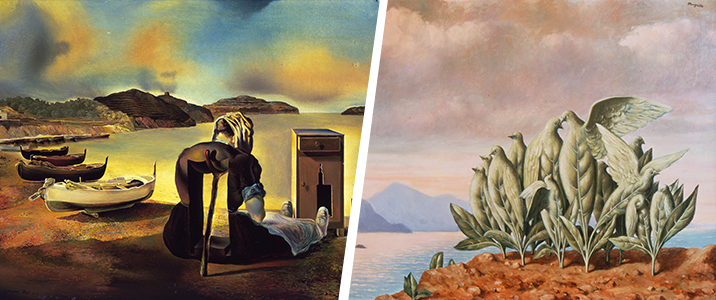 Magritte and Dali painting details