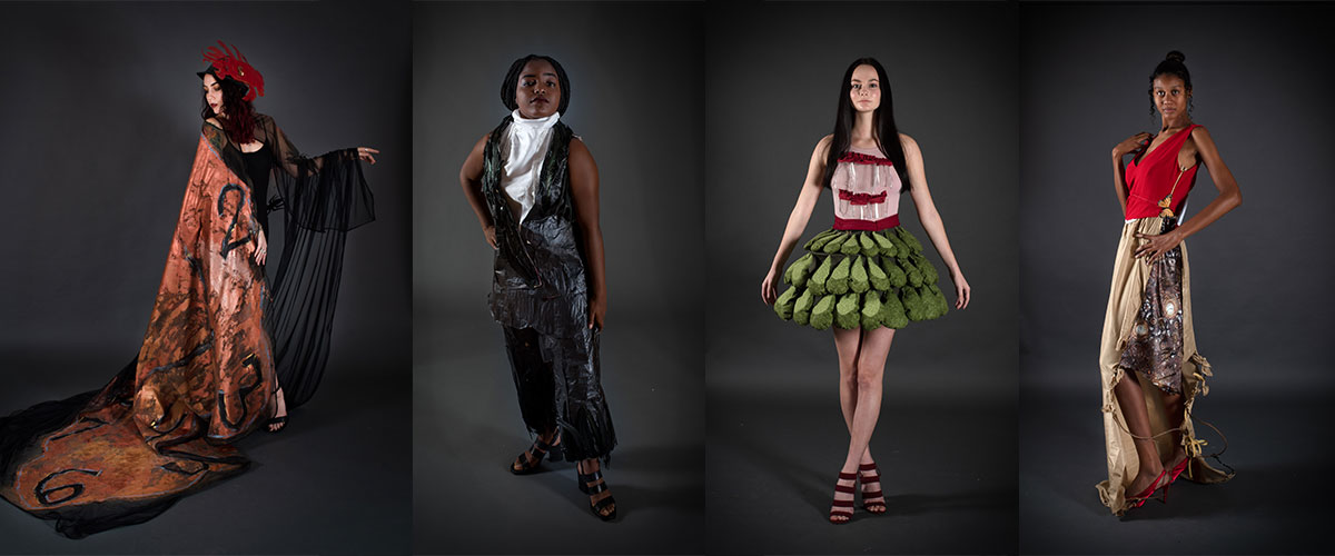 Student fashion designs inspired by Salvador Dali, showcased by four models