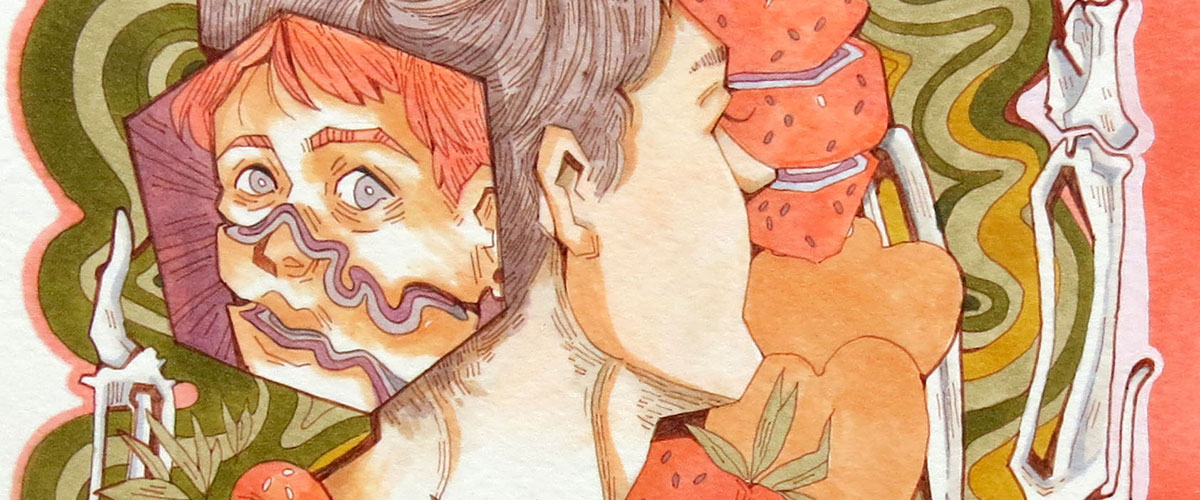 Surreal student art, fragmented face appears on back of mans head, atop swirls, hearts, fruits and bones