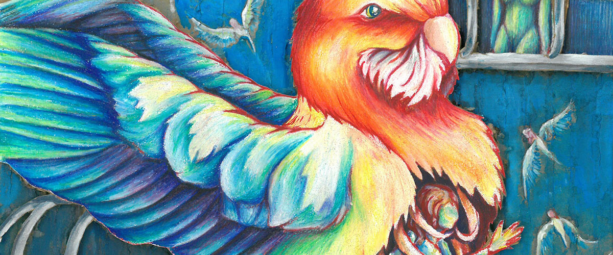 Surreal student art, rainbow bird with woman in ribcage