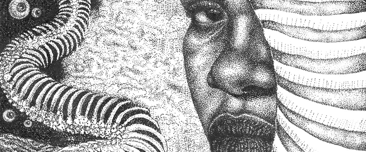 Surreal student art, pointillist woman looks ahead in galaxy with eyeballs and snake skeleton