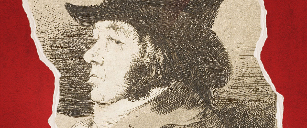 Sketch by Goya of a man in a hat with a sorrowful expression