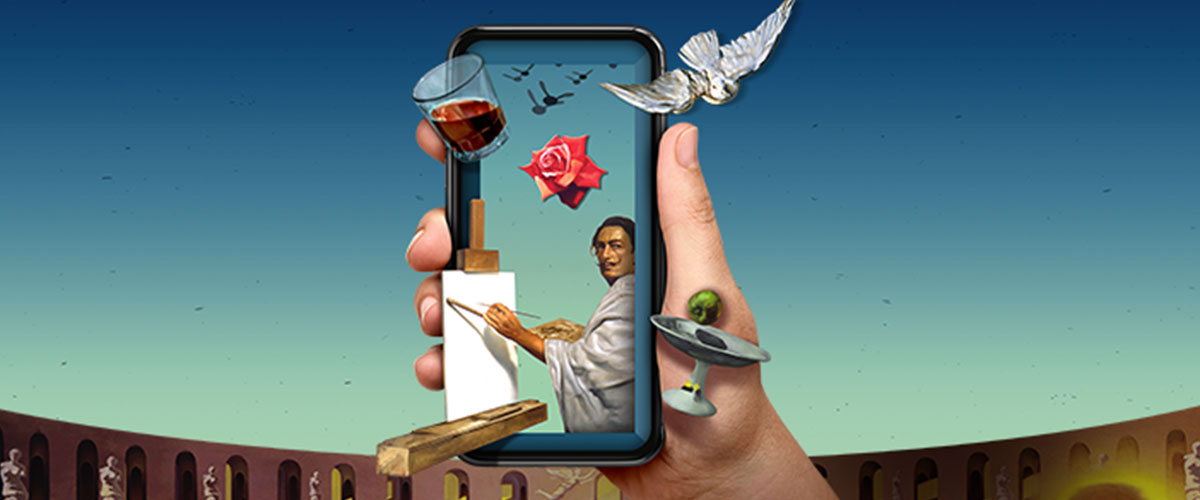 Hand holding a smartphone with Dalí coming out of the phone.
