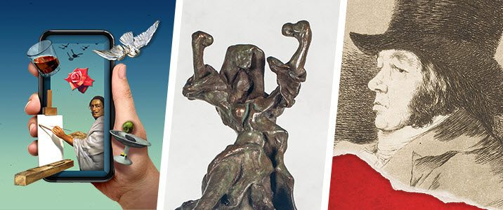 Masterworks in AR, Bronzes from the Vault, Before Dali: Goya logos