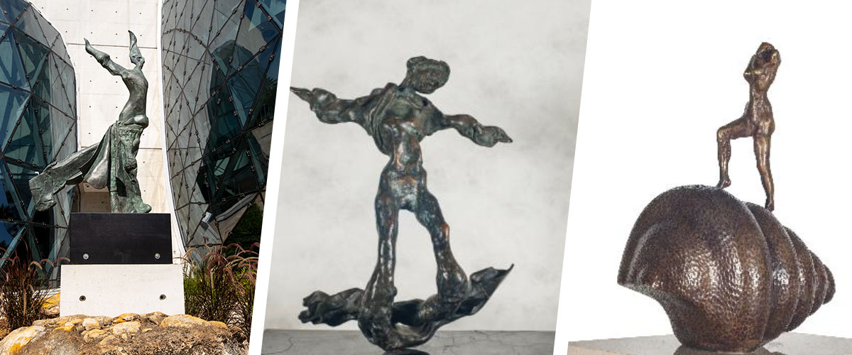 Bronze sculptures by Dali of St. George slaying the dragon, a depiction of Christ, and a horse head.