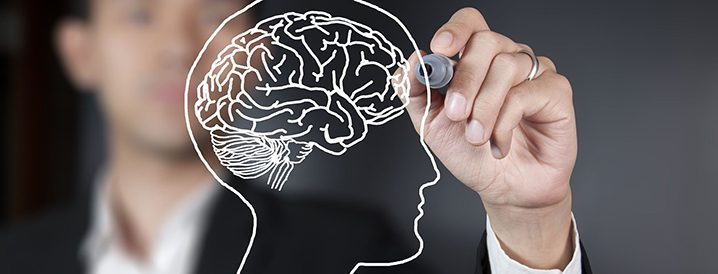 Stock photo of a man drawing a brain