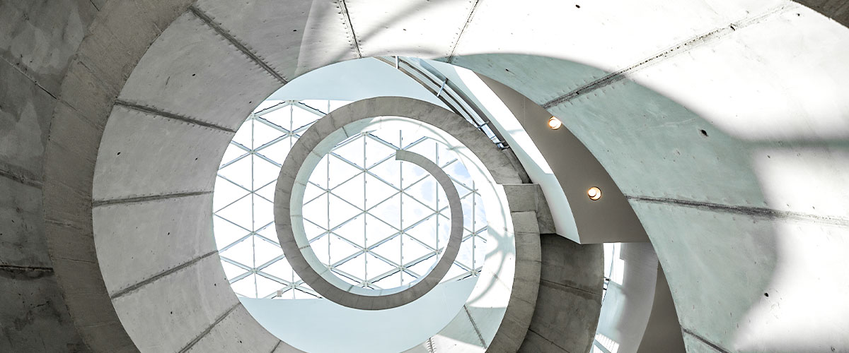View from below Dali Museum helical staircase