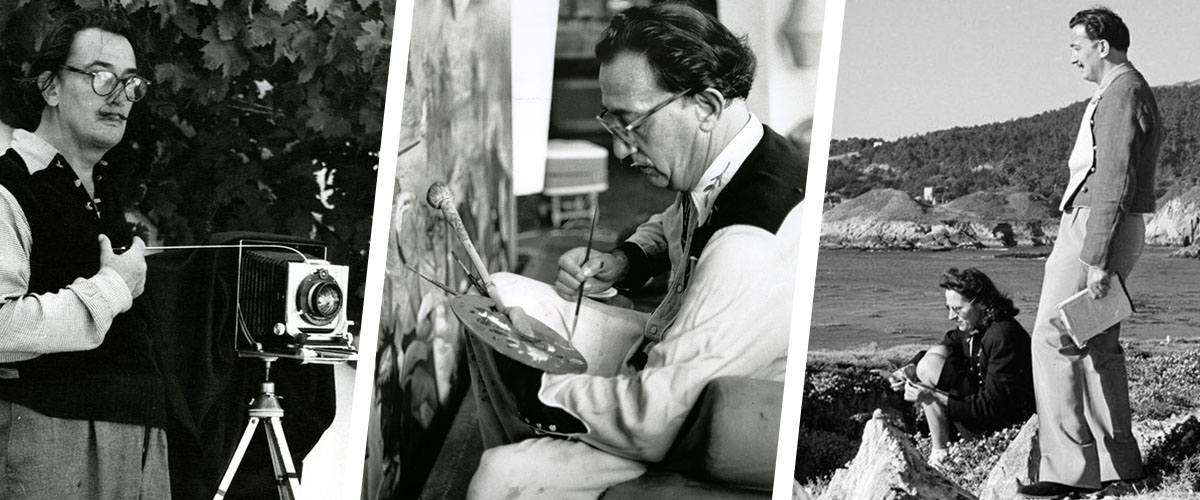Photographs of Dalí with a camera, Dalí painting with palette in hand, and Dalí with Gala by the ocean