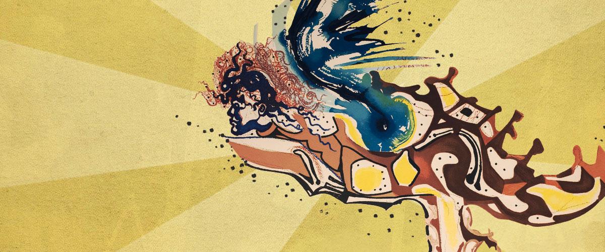 Dali's Sacred Science Exhibit Painting of mythological being