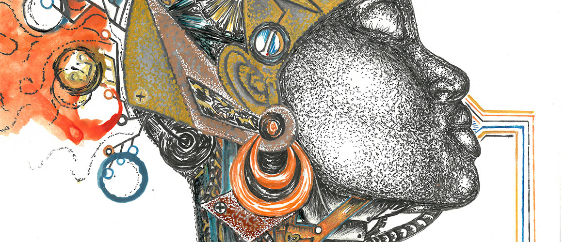Surreal student art, female profile with intricate and colorful earring and headpiece