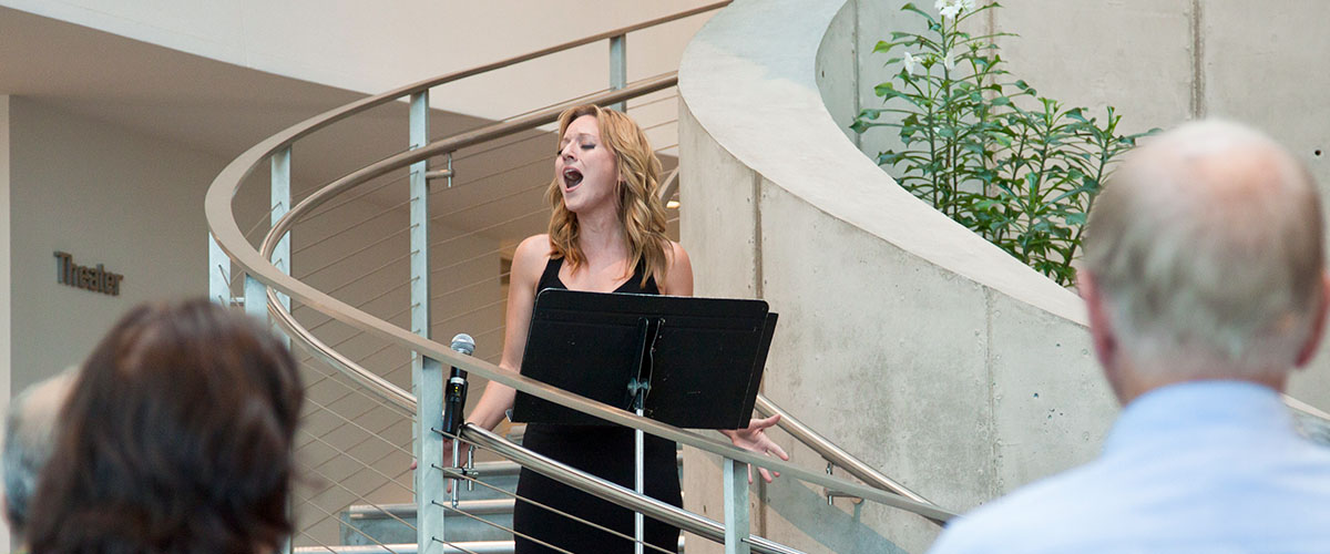 Opera at The Dali Museum, singer on spiral staircase