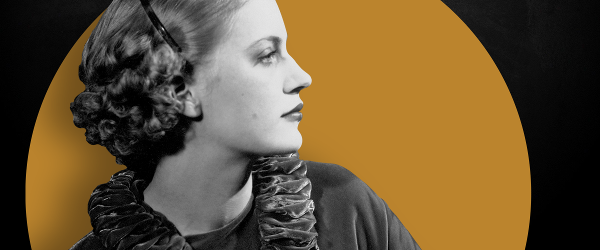 Black and white photographer of Lee Miller superimposed over mustard and black background