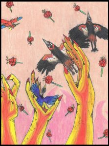 The Dali Museum's 2021 Student Surrealist Exhibit Online: Pinellas, Artwork by Amaya Boyd Flight of the Hatching Cranes and Falling Roses Thurgood Marshall Fundamental Middle Teacher: Peter Hynes Grade: 7