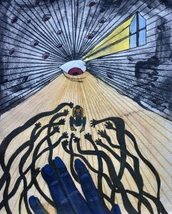 The Dali Museum's 2021 Student Surrealist Exhibit Online: Pinellas, Artwork by Jillian Clark Eyes On Me Hopkins Middle Teacher: Sara Black Grade 8