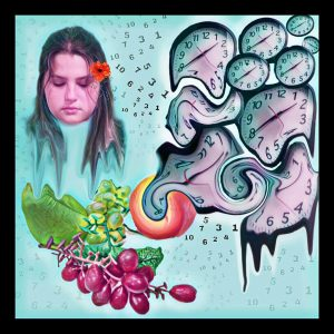 The Dali Museum's 2021 Student Surrealist Exhibit Online: Pinellas, Artwork by Olivia Hoyt  The Intricate Misconceptions Of Time Immersed In The Delicate Fruit Of The Vine Thurgood Marshall Fund Middle Teacher: Peter Hynes Grade 8