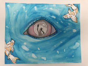 The Dali Museum's 2021 Student Surrealist Exhibit Online: Pinellas, Artwork by Sophia Keith Overwhelmed Madeira Beach Fundamental Teacher: Kurt Schuster Grade 7