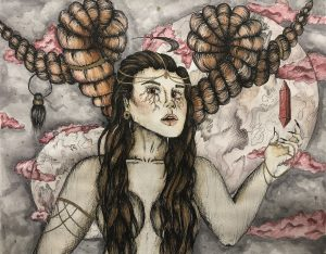The Dali Museum's 2021 Student Surrealist Exhibit Online: Pinellas, Artwork by Sarah Burkart Devine Delight Tarpon Springs High Teacher: Jessica Marmorale Grade 12