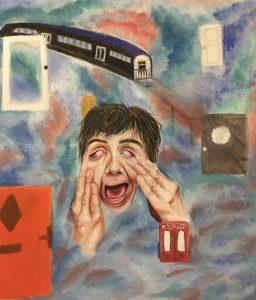 The Dali Museum's 2021 Student Surrealist Exhibit Online: Pinellas, Artwork by Hazel Flanigan Derailed Gibbs High Teacher: Amber Quimby Grade 9