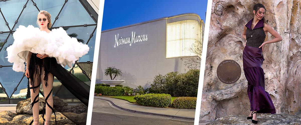 Student fashion designs spliced with Neiman Marcus storefront