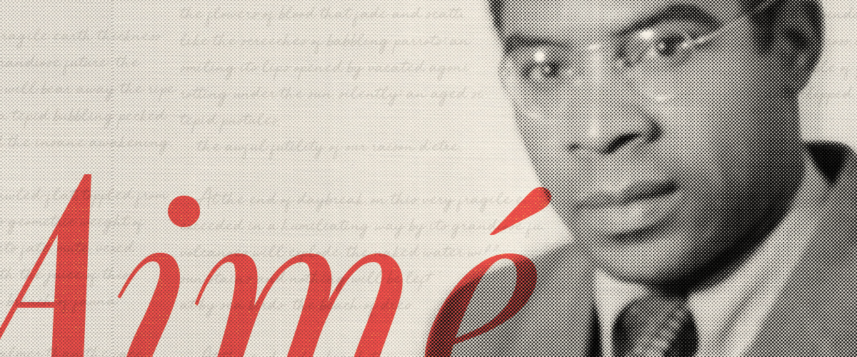Black and white photograph of Aimé Césaire with poetic text