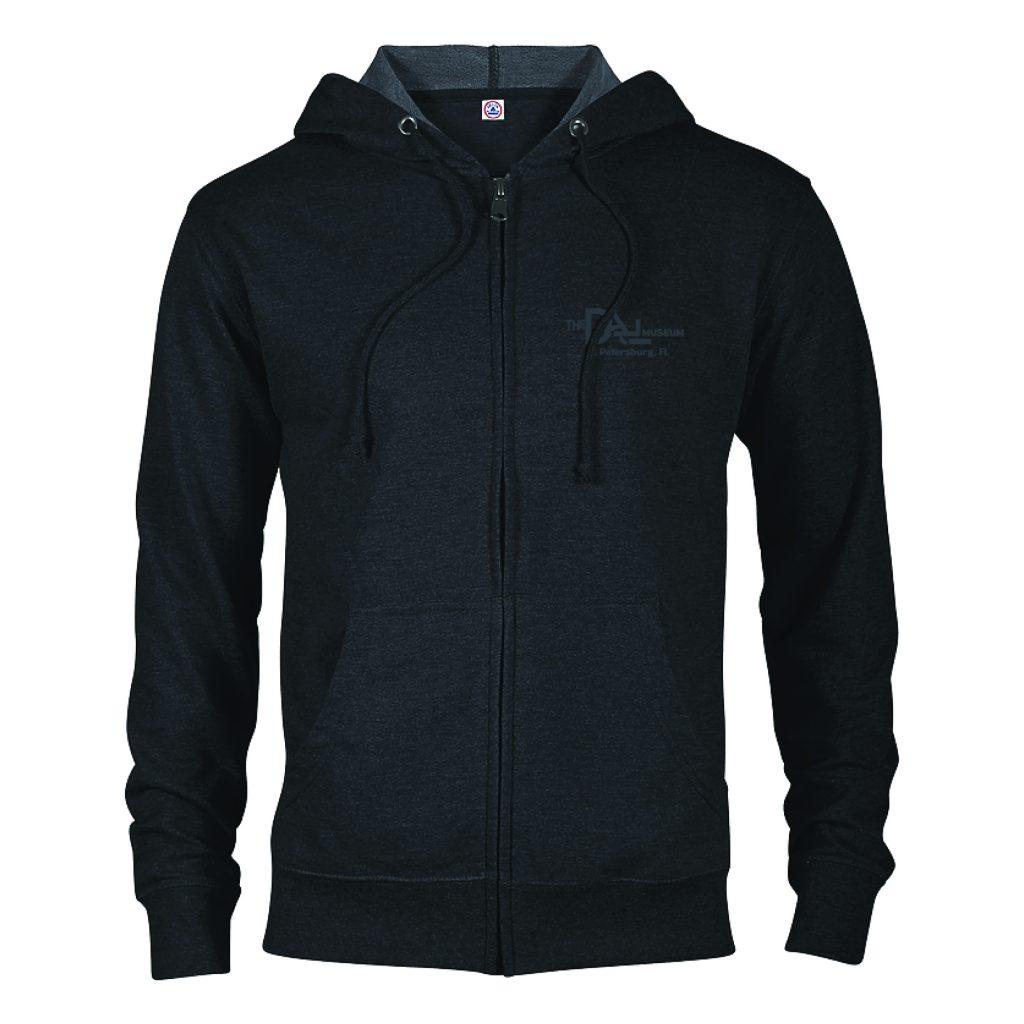 Black zip-up hoodie with Dalí logo